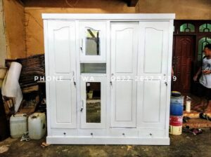 lemari pakaian, lemari jati, lemari pakaian warna putih finishing duco, lemari 4 pintu