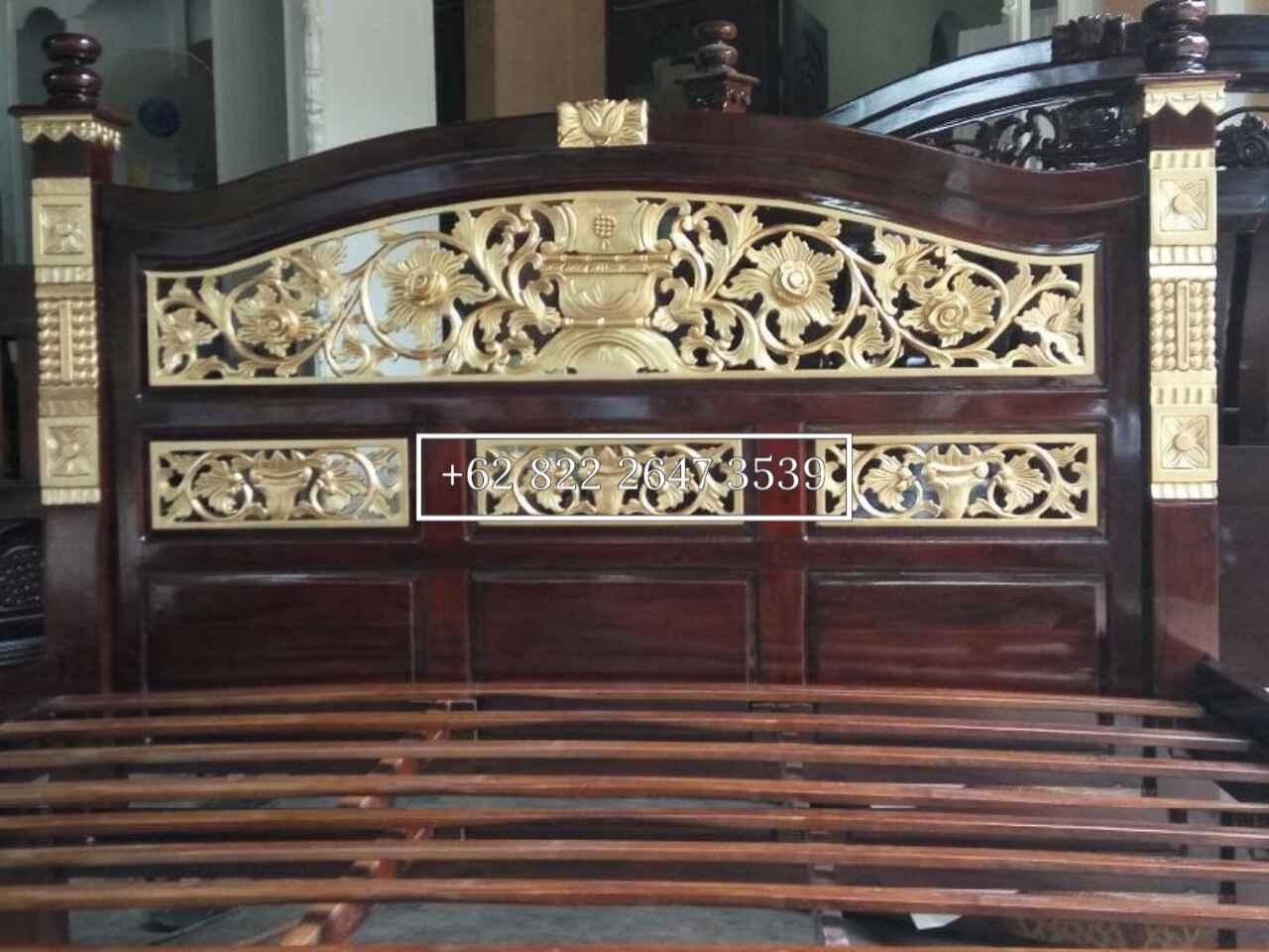 tempat tidur, tempat tidur ukiran rahwana, tempat tidur kayu jati, dipan ukiran, ranjang kayu jati